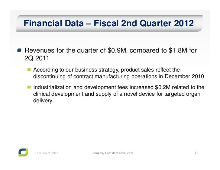 Financial Data – Fiscal 2nd Quarter 2012Revenues for the quarter of $0.9M, compared to $1.8M for2Q 2011  According to our ...