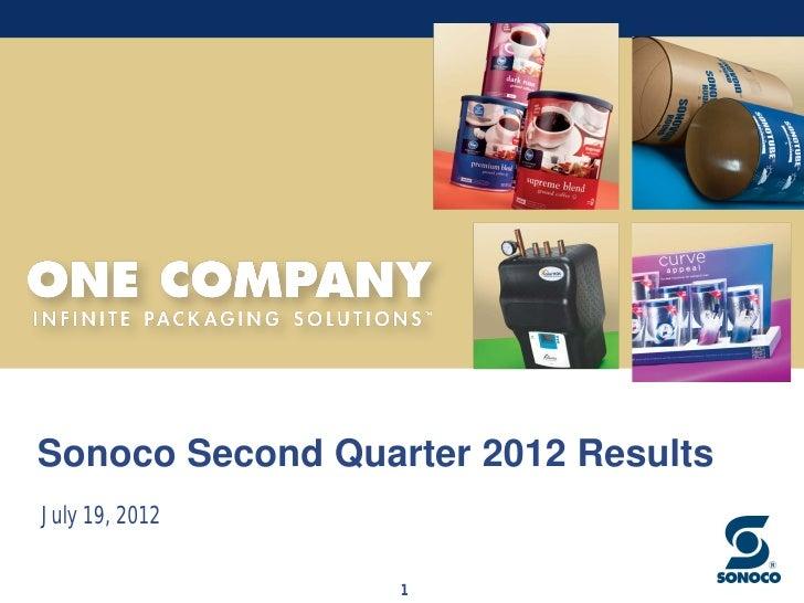 Sonoco Second Quarter 2012 ResultsJuly 19, 2012                  1