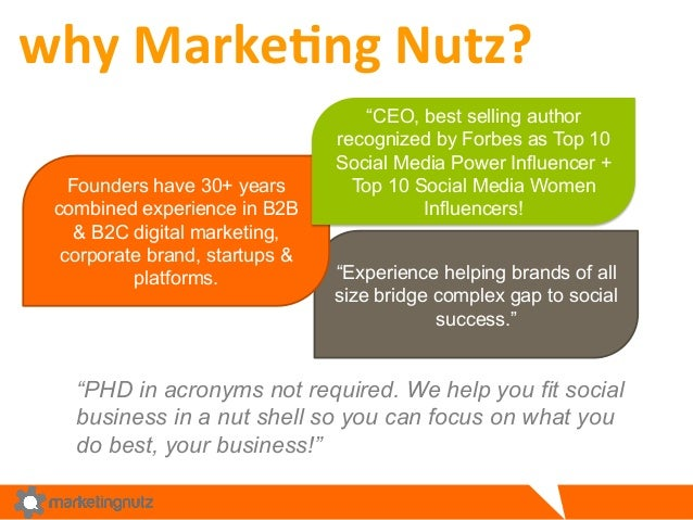 """""""Experience helping brands of all size bridge complex gap to social success."""" why  Marke&ng  Nutz?   Founders have 3..."""