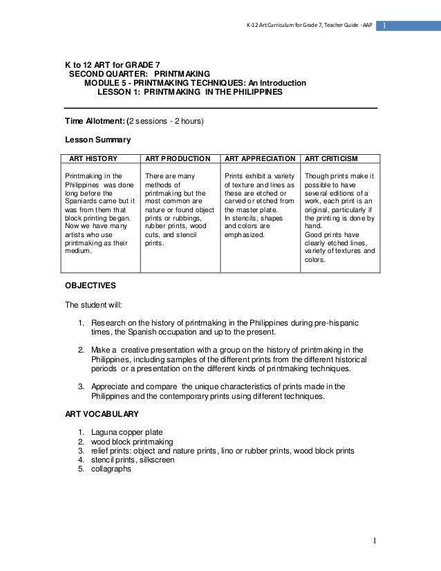 1 1K-12 Art Curriculum for Grade 7, Teacher Guide - AAP K to 12 ART for GRADE 7 SECOND QUARTER: PRINTMAKING MODULE 5 - PRI...