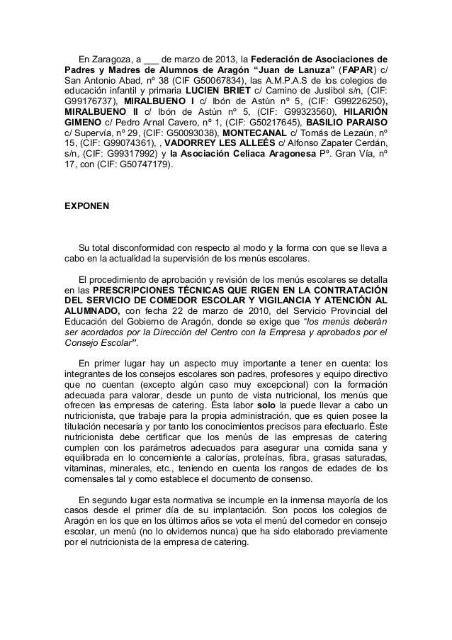 """En Zaragoza, a ___ de marzo de 2013, la Federación de Asociaciones dePadres y Madres de Alumnos de Aragón """"Juan de Lanuza""""..."""