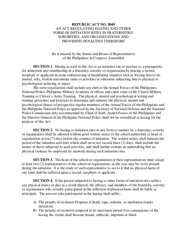 effectiveness of ra 8049 or anti hazing Philippine e-legal forum philippine laws and legal system (jlp-law blog)  again places the spotlight on the anti-hazing law it's unfortunate that every time this law is discussed, it's.