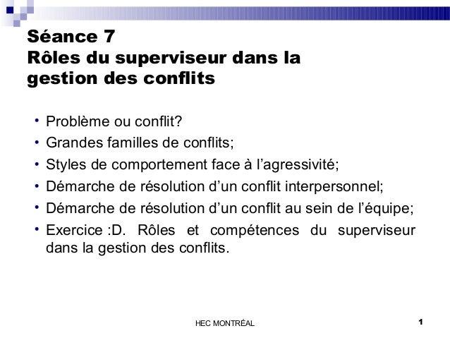 Séance 7  Rôles du superviseur dans la  gestion des conflits  · Problème ou conflit?  · Grandes familles de conflits;  · S...