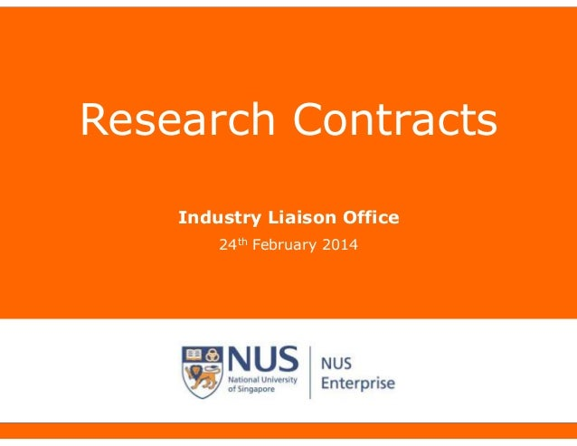 Research Contracts Industry Liaison Office 24th February 2014