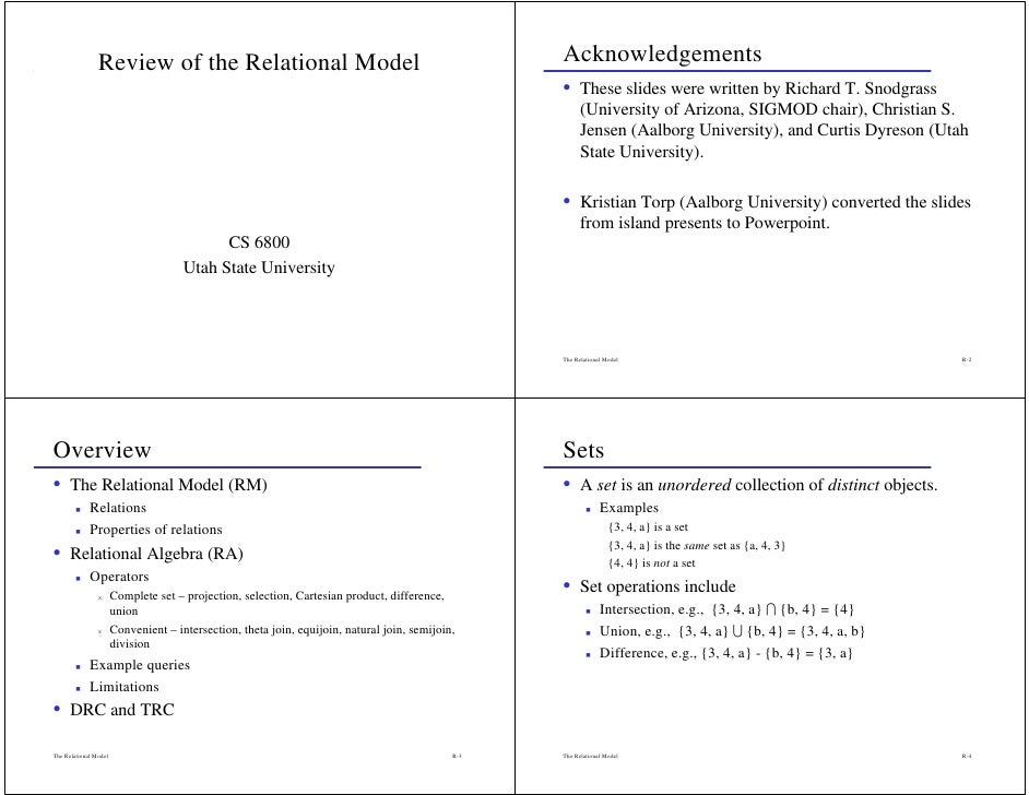 Review of the Relational Model                                                      Acknowledgements                      ...