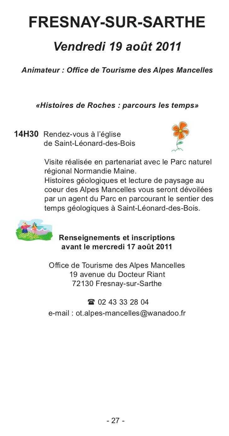 Journ es d couvertes 2011 la sarthe c t ville c t campagne - Office de tourisme saint leonard de noblat ...