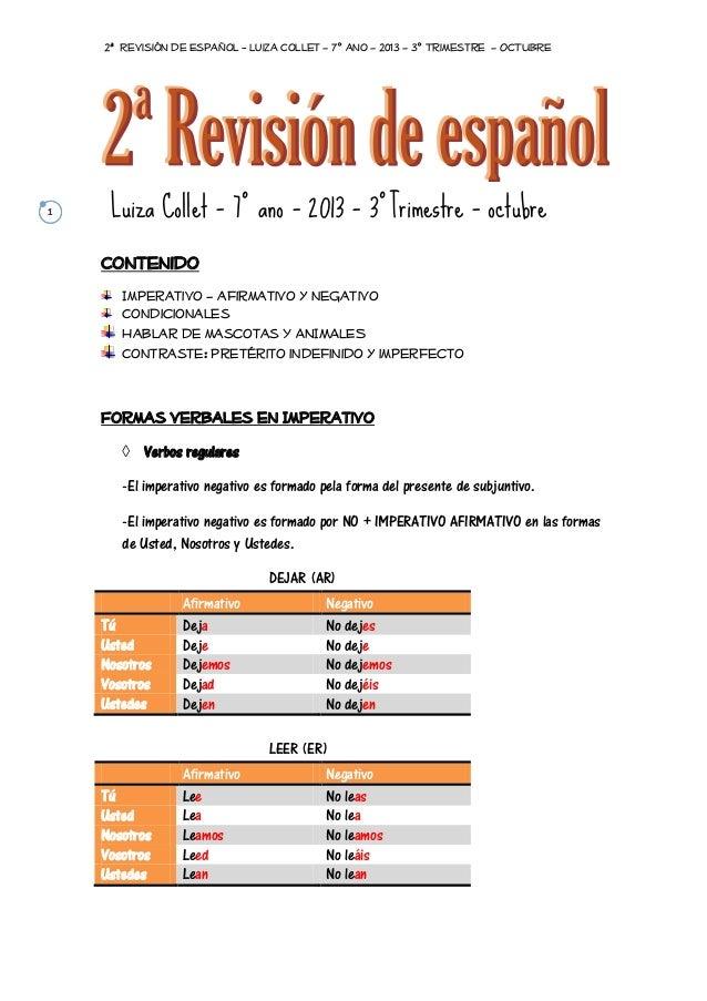 2ª Revisión de Español - Luiza Collet – 7º ano – 2013 – 3º Trimestre – OCTUBRE  1  Luiza Collet – 7º ano – 2013 – 3ºTrimes...