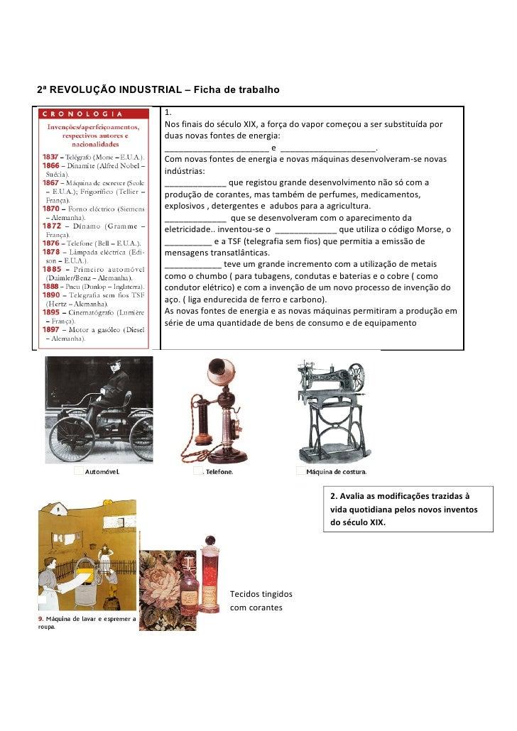 2ª REVOLUÇÃO INDUSTRIAL – Ficha de trabalho                      1.                      Nos finais do século XIX, a força...