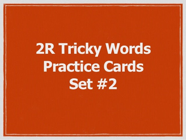 2R Tricky Words Practice Cards Set #2