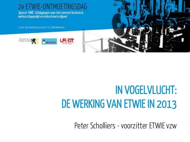 IN VOGELVLUCHT: DE WERKING VAN ETWIE IN 2013 Peter Scholliers - voorzitter ETWIE vzw