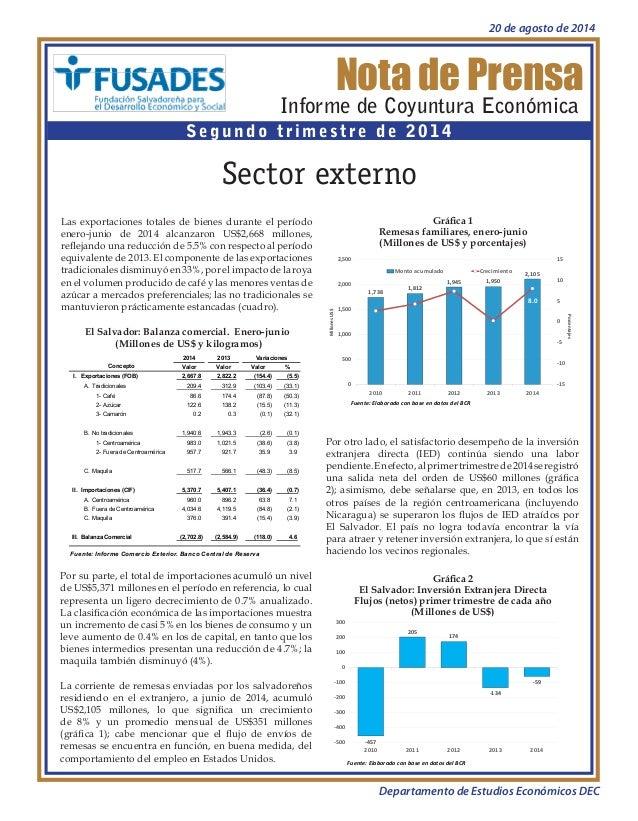 Nota de Prensa  Informe de Coyuntura Económica  Segundo trimestre de 2014  Sector externo  Gráfica 1  Remesas familiares, ...