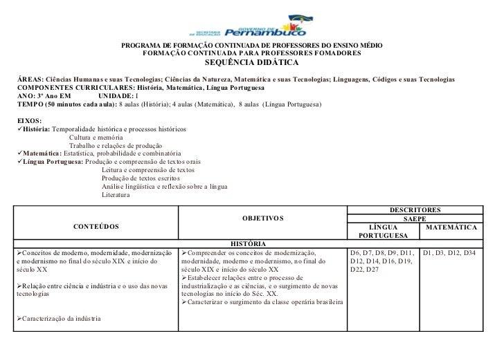 PROGRAMA DE FORMAÇÃO CONTINUADA DE PROFESSORES DO ENSINO MÉDIO                                           FORMAÇÃO CONTINUA...