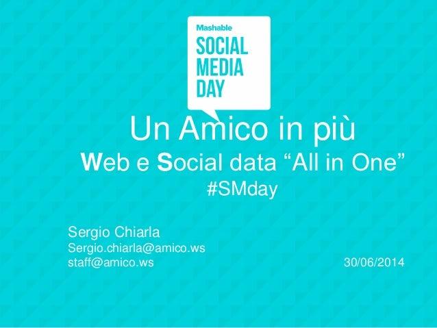 """Un Amico in più Web e Social data """"All in One"""" #SMday Sergio Chiarla Sergio.chiarla@amico.ws staff@amico.ws 30/06/2014"""