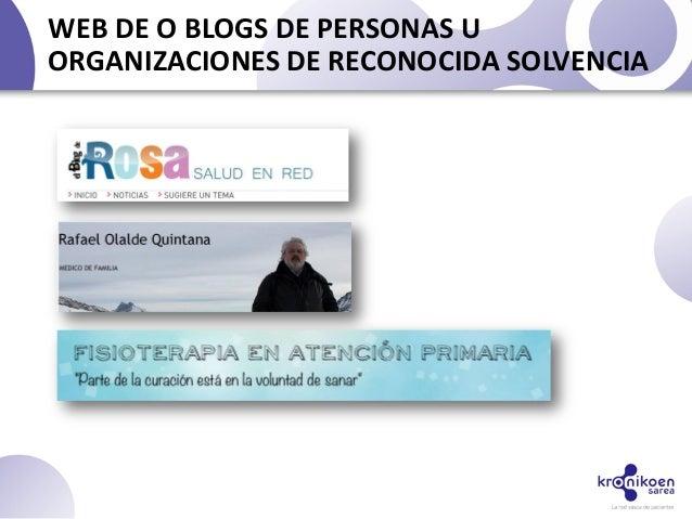 WEB DE O BLOGS DE PERSONAS UORGANIZACIONES DE RECONOCIDA SOLVENCIA