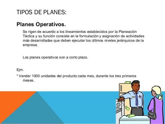 TIPOS DE PLANES: Planes Operativos. Se rigen de acuerdo a los lineamientos establecidos por la Planeación Táctica y su fun...