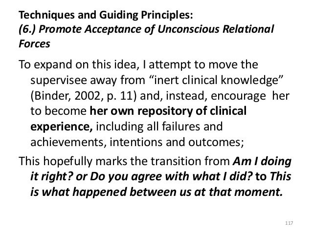 Techniques and Guiding Principles: (6.) Promote Acceptance of Unconscious Relational Forces To expand on this idea, I atte...
