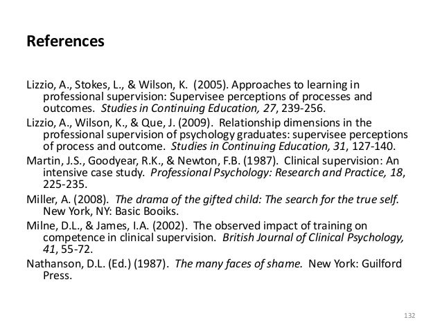References Lizzio, A., Stokes, L., & Wilson, K. (2005). Approaches to learning in professional supervision: Supervisee per...