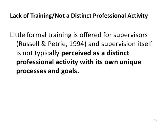 Lack of Training/Not a Distinct Professional Activity Little formal training is offered for supervisors (Russell & Petrie,...