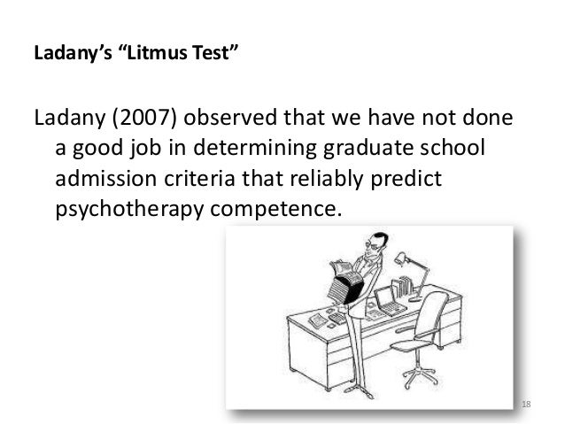 """Ladany's """"Litmus Test"""" Ladany (2007) observed that we have not done a good job in determining graduate school admission cr..."""