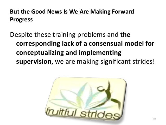 But the Good News Is We Are Making Forward Progress Despite these training problems and the corresponding lack of a consen...