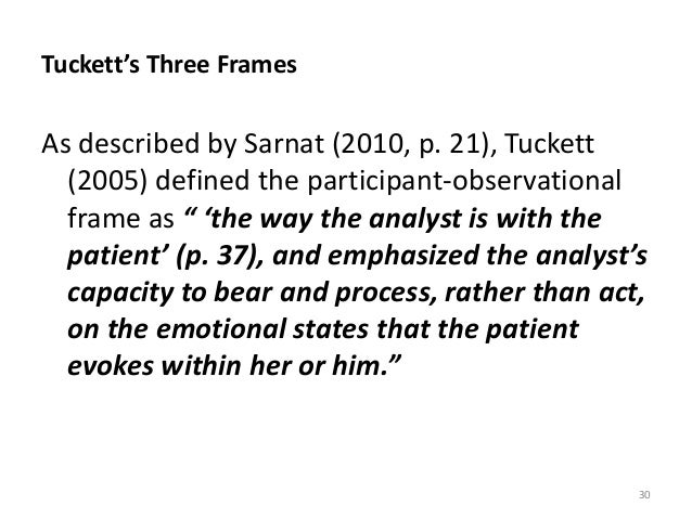 Tuckett's Three Frames As described by Sarnat (2010, p. 21), Tuckett (2005) defined the participant-observational frame as...