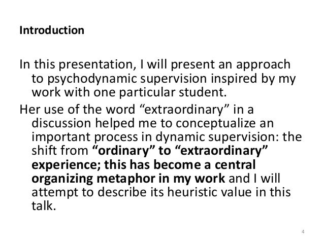 Introduction In this presentation, I will present an approach to psychodynamic supervision inspired by my work with one pa...