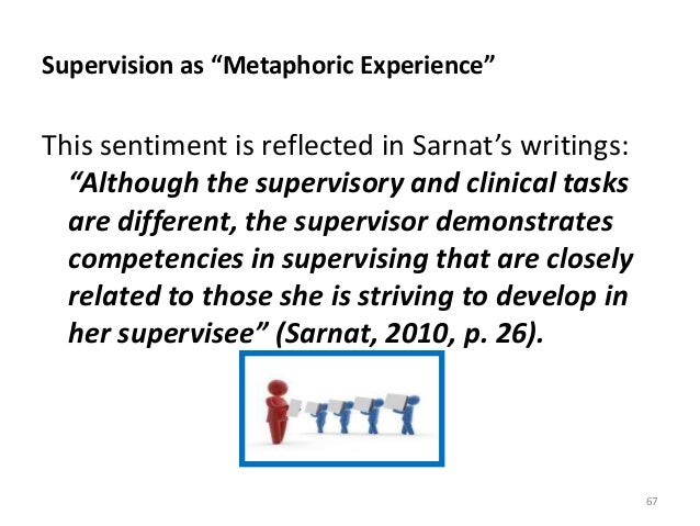 """Supervision as """"Metaphoric Experience"""" This sentiment is reflected in Sarnat's writings: """"Although the supervisory and cli..."""