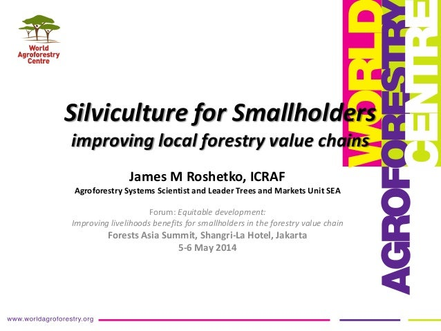Silviculture for Smallholders improving local forestry value chains James M Roshetko, ICRAF Agroforestry Systems Scientist...