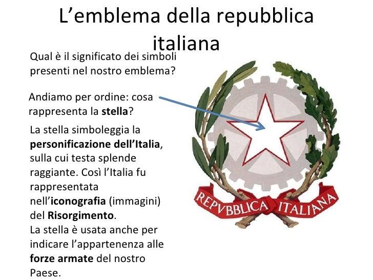 I simboli della repubblica for Stemma della repubblica italiana da colorare