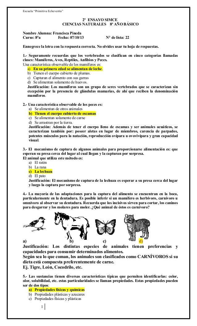"""Escuela """"Primitiva Echeverría""""  2º ENSAYO SIMCE CIENCIAS NATURALES 8º AÑO BÁSICO Nombre Alumna: Francisca Pineda Curso: 8°..."""