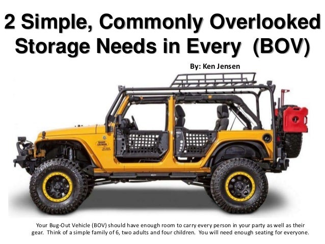 2 Simple, Commonly Overlooked Storage Needs in Every (BOV) Your Bug-Out Vehicle (BOV) should have enough room to carry eve...