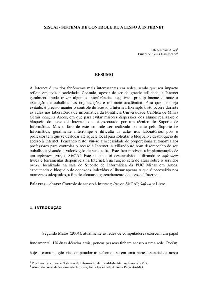 SISCAI - SISTEMA DE CONTROLE DE ACESSO À INTERNET                                                                         ...
