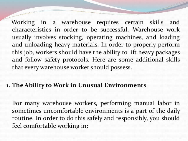 2 Skills Every Warehouse Worker Should Possess; 2.  Warehouse Skills