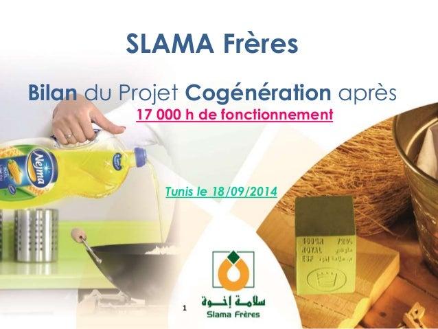 SLAMA Frères  Bilan du Projet Cogénération après  17 000 h de fonctionnement  Tunis le 18/09/2014  1