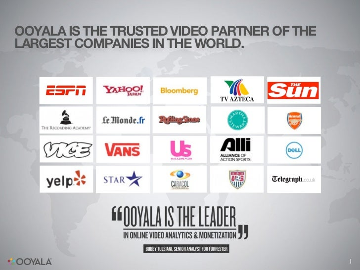 OOYALA IS THE TRUSTED VIDEO PARTNER OF THELARGEST COMPANIES IN THE WORLD.                                             1