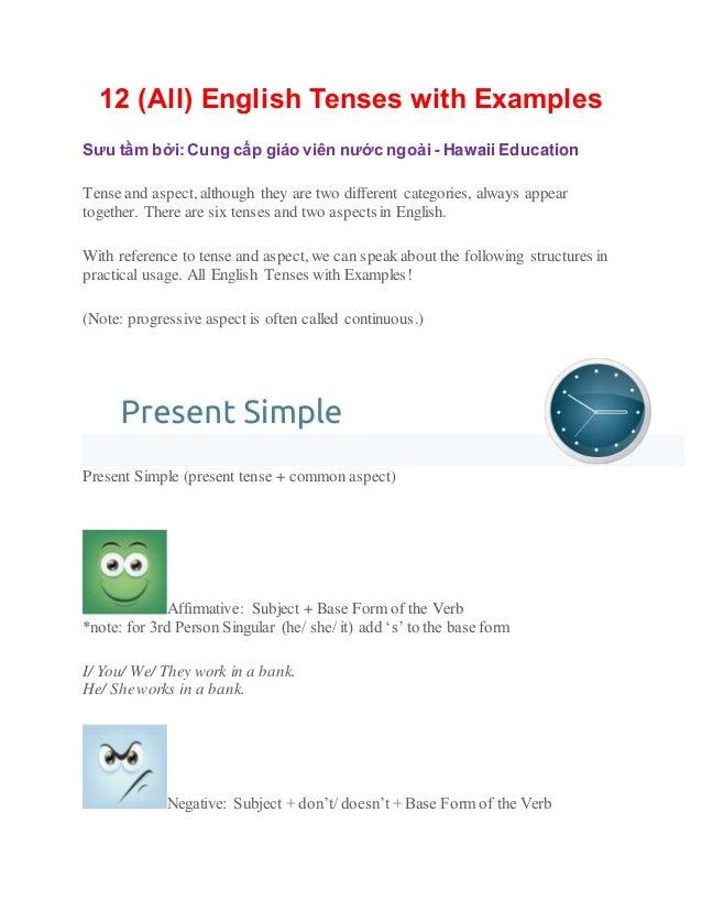 12 (All) English Tenses with Examples Sưu tầm bởi: Cung cấp giáo viên nước ngoài - Hawaii Education Tense and aspect, alth...