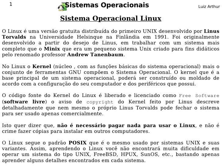 1                    Sistemas Operacionais                             Luiz Arthur                        Sistema Operacio...