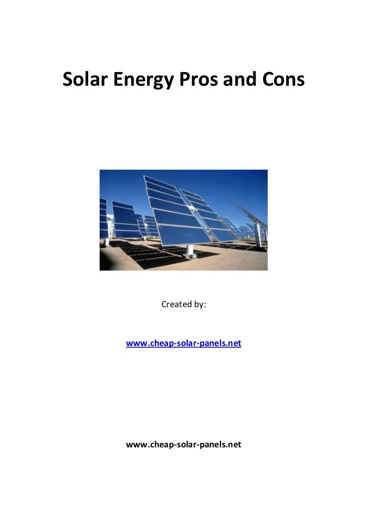 solar energy pros and cons pdf