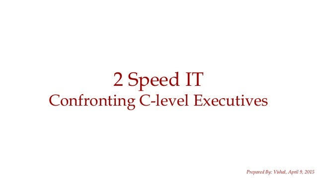 1 2 Speed IT Confronting C-level Executives Prepared By: Vishal, April 9, 2015