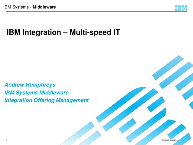 © 2015 IBM Corporation0 IBM Systems - Middleware IBM Integration – Multi-speed IT Andrew Humphreys IBM Systems Middleware ...