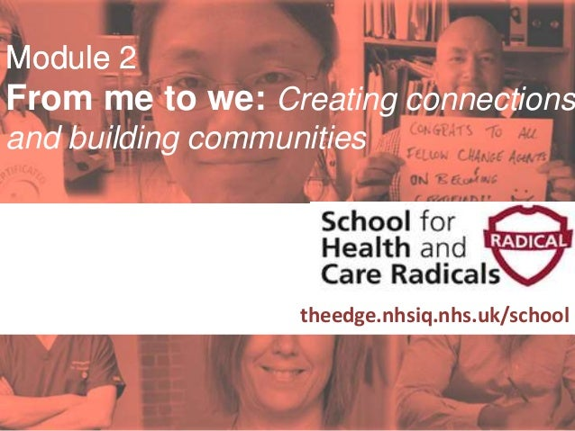 #SHCR @School4Radicals Module 2 From me to we: Creating connections and building communities Supported by: theedge.nhsiq.n...