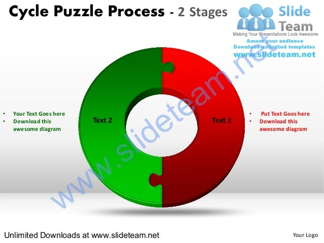 2 Stage Cycle Diagram Puzzle Process Powerpoint Slides And