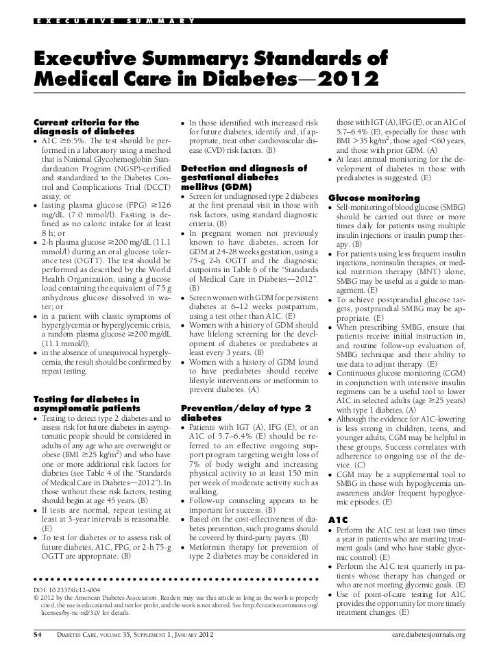 E X E C U T I V E                  S U M M A R YExecutive Summary: Standards ofMedical Care in Diabetesd2012Current criter...
