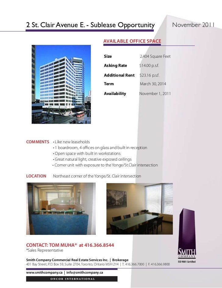 2 St. Clair Avenue E. - Sublease Opportunity                                                             November 2011    ...