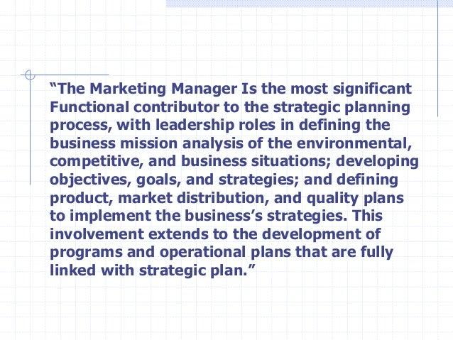 MF strategic marketing strategic role of marketing