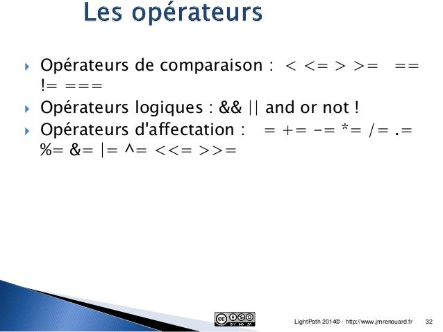 php operateur