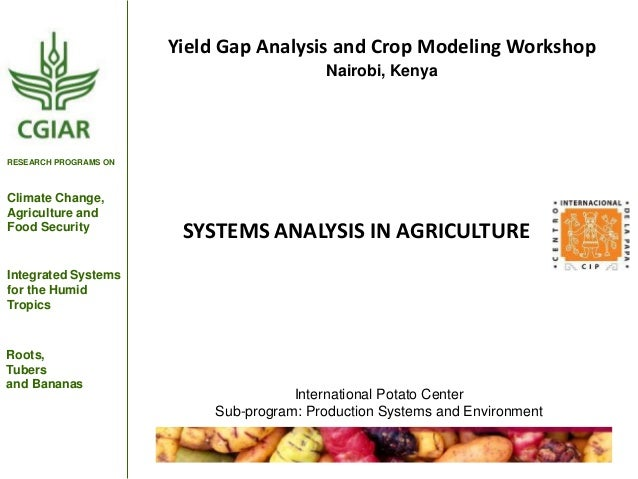 Yield Gap Analysis and Crop Modeling Workshop Nairobi, Kenya  RESEARCH PROGRAMS ON  Climate Change, Agriculture and Food S...