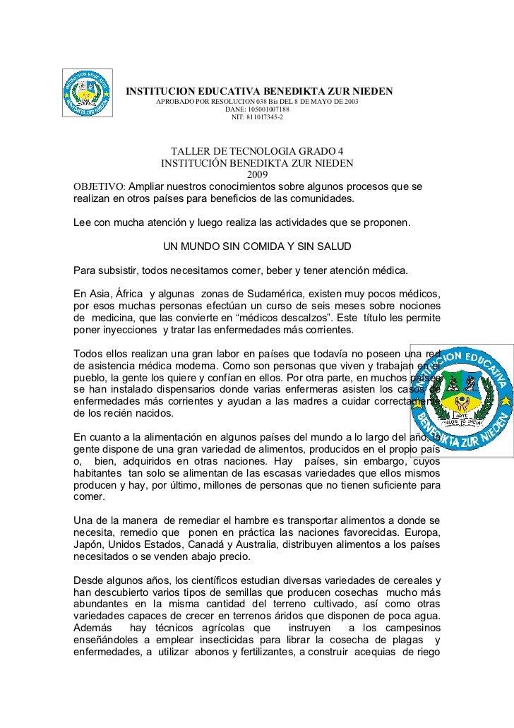 INSTITUCION EDUCATIVA BENEDIKTA ZUR NIEDEN                 APROBADO POR RESOLUCION 038 Bis DEL 8 DE MAYO DE 2003          ...