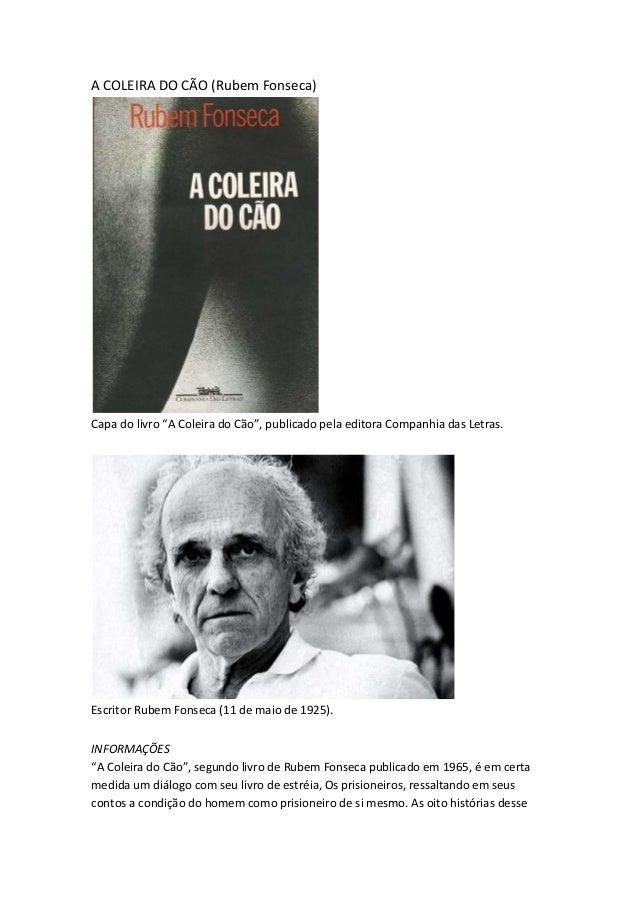 """A COLEIRA DO CÃO (Rubem Fonseca) Capa do livro """"A Coleira do Cão"""", publicado pela editora Companhia das Letras. Escritor R..."""