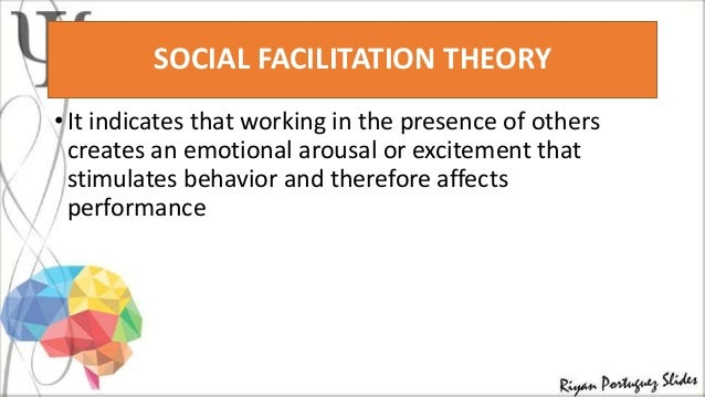 understanding the social facilitation theory Social facilitation is the tendency for people to be aroused into better  performance on simple tasks when being watched by others, rather than while  they are.